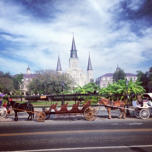 St. Louis Cathedral and Horse and Buggies in Jackson Square